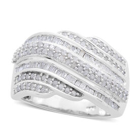 Designer Inspired - Diamond (Rnd) (I4/H-I) Ring in Platinum Overlay Sterling Silver 1.000 Ct. Silver