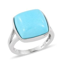 Very Rare Size-Arizona Sleeping Beauty Turquoise (Cush 14x14 mm ) Ring in Platinum Overlay Sterling Silver 9.000 Ct.