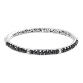 Boi Ploi Black Spinel Bangle (Size 7.5) in Platinum Plated 23.25 Ct.