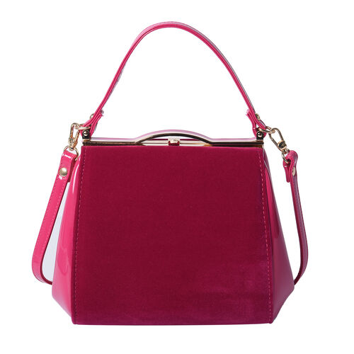BOUTIQUE COLLECTION Fuchsia Satchel Bag with Detachable Shoulder Strap and Top Handle (Size 24x11x19