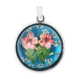 Pressed Pink Dried Flower Pendant in Silver Tone