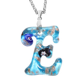 Blue Murano Glass E-Initial Pendant with Chain (Size 24) in Rhodium Overlay Sterling Silver and Stai