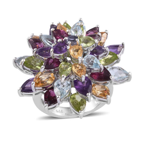 Rhodolite Garnet (Pear), Hebei Peridot and Multi Gemstone Cluster Ring in Platinum Overlay Sterling