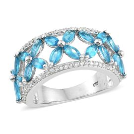 3.25 Ct AA Malgache Neon Apatite and Zircon Floral Ring in Platinum Plated Silver 5.38 Grams
