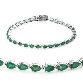 Kagem Zambian Emerald (Pear 5x3 mm) Bracelet (Size 7.5) in Platinum Overlay Sterling Silver 6.250 Ct