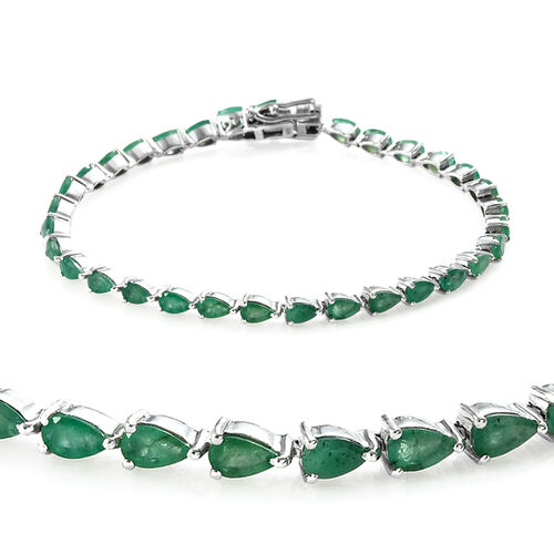 6.25 Ct Zambian Emerald Tennis Bracelet in Platinum Plated Sterling Silver 8.48 Grams
