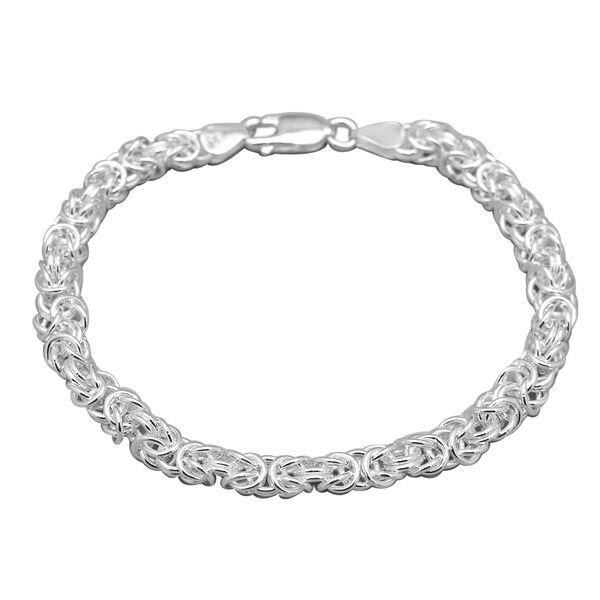Sterling Silver Byzantine Bracelet (Size 8) with Lobster Clasp, Silver wt 17.80 Gms.