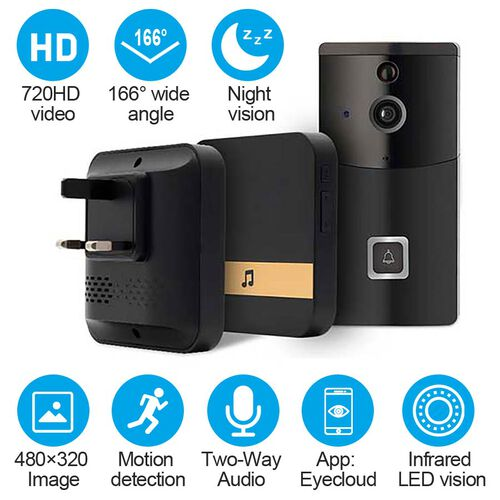 Aquarius Smart Home Video Doorbell with Chime, HD recording at 720p, Night Vision, Anti-theft Alarm