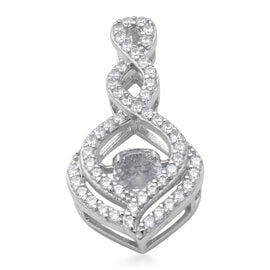 ELANZA  AAA Simulated Diamond Pendant in Rhodium Overlay Sterling Silver