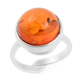 Baltic Amber Adjustable Solitaire Ring in Silver