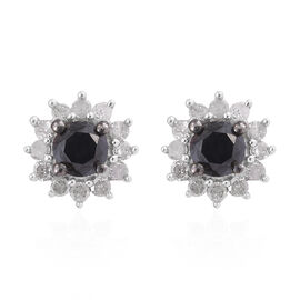 Black and White Diamond (Rnd) Stud Earrings (with Push Back) in Platinum Overlay Sterling Silver 0.500 Ct.