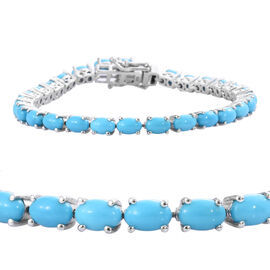 12 Carat Sleeping Beauty Turquoise Tennis Bracelet in Sterling Silver 9.1 Grams 7 Inch