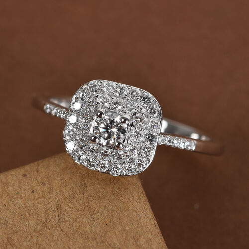 RHAPSODY 950 Platinum Certfied Natural Diamond (VS/E-F) Ring 0.50 Ct, Platinum wt. 3.90 Gms