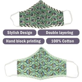 Set of 2 - 100% Cotton Hand Block Printed Reusable Double Layer Face Cover (One Size Fits All) - Dark and Light Green