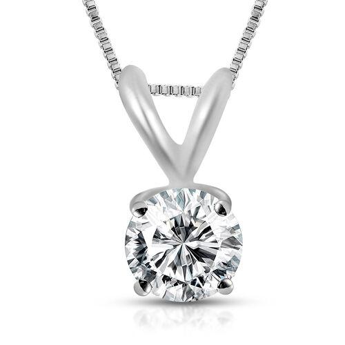 ILIANA 18K White Gold IGI Certified (SI2/H) Diamond (Rnd) Pendant with Chain 0.500 Ct.