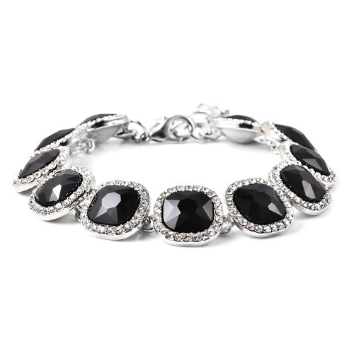 Simulated Black Spinel, White Austrian Crystal Bracelet (Size 7 with 2 inch Extender) in Silver Tone