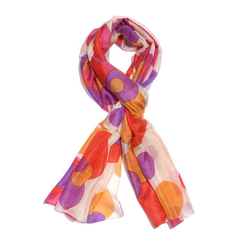 100% Mulberry Silk Red, Cream and Multi Colour Handscreen Polka Dots Printed Scarf (Size 180X50 Cm)