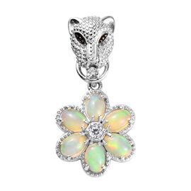 Ethiopian Welo Opal (Ovl), Natural Cambodian Zircon Pendant in Platinum Overlay Sterling Silver 1.95
