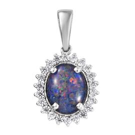 Australian Boulder Opal (Ovl), Natural Cambodian Zircon Pendant in Platinum Overlay Sterling Silver