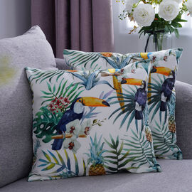 Set of 2 - Birds & Leaves Pattern Cushion Cover with Zipper Closure (Size 43x43cm) - White, Blue & M