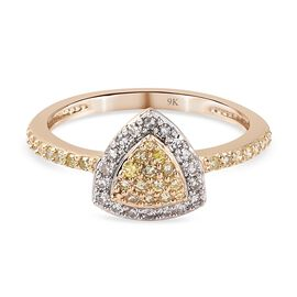 9K Yellow Gold SGL Certified Natural Yellow Diamond and White Diamond (I2-I3/ G-H) Cluster Ring 0.50