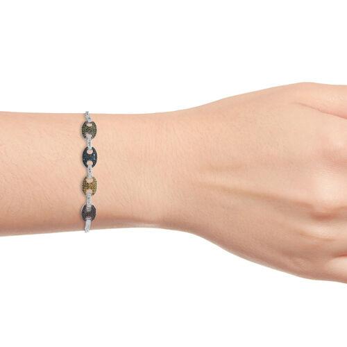 Multi Colour Diamond (Rnd) Mariner Link Bracelet (Size 6.5 - 9.5 Adjustable) in Platinum Overlay Sterling Silver 1.001 Ct, Number of Diamonds 169.