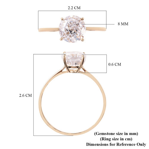 One Time Deal- 9K Yellow Gold AAAA Radiant Cut Cubic Zirconia (Rnd 8mm) Solitaire Ring Eq Ct Wt 2.00 Carats