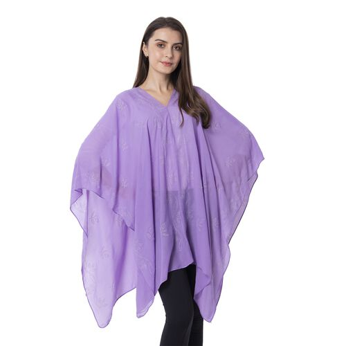Purple Colour Leaf Pattern Crystal Embellished Poncho (Size 80.01x99.06 Cm)