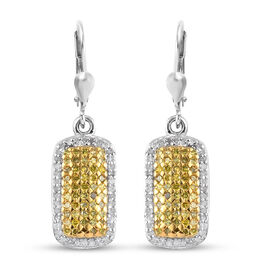 White Diamond and Yellow Diamond Cluster Lever Back Earrings in Platinum Overlay Sterling Silver 1.0