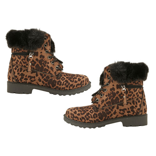 Leopard Print Women Lace Up Ankle Boots (Size 4) - Mustard