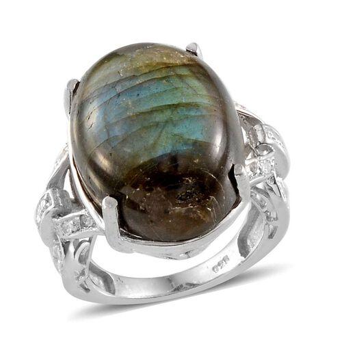 Labradorite (Ovl 17.75 Ct), White Topaz Ring in Platinum Overlay Sterling Silver 17.800 Ct.