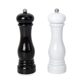 Set of 2 - Stainless Steel Manual Salt and Pepper Mill (Size 21x6 Cm) - Black and White