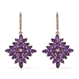 7.50 Ct Rose De France Amethyst and Natural Cambodian Zircon Lever Back Earrings in Rose Gold Plated Silver 5.76 gms