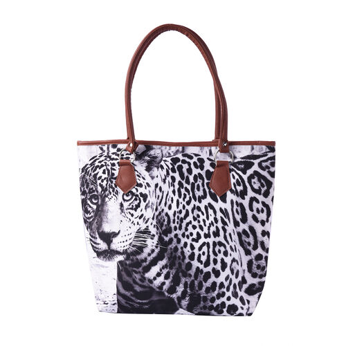 White and Black Leopard Print Tote Bag (42x11x36cm)