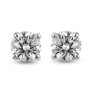 Web Exclusive RHAPSODY 950 Platinum IGI Certified Diamond (VS/E-F) Solitaire Stud Earrings (with Scr