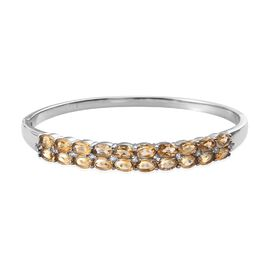 8.75 Ct Citrine and White Topaz Stacker Bangle in Stainless Steel 7.5 Inch