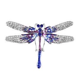 Blue and White Austrian Crystal Enamelled Dragonfly Brooch in Silver Tone
