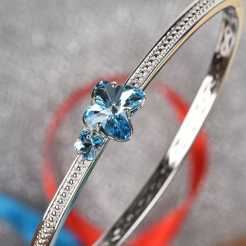 J Francis - Crystal from Swarovski Aquamarine Colour Crystal Bangle (Size 7.5) in Platinum Plated
