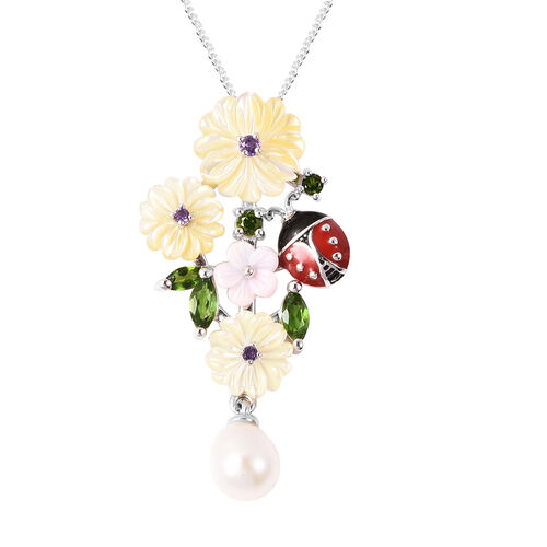 Jardin Collection - Yellow Mother of Pearl, Freshwater Pearl and Multi Gemstone Ladybug Floral Ename