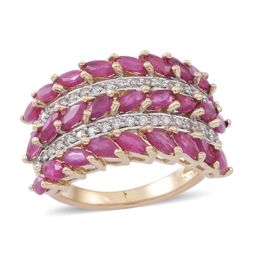 9K Yellow Gold Burmese Ruby (Mrq), Natural White Cambodian Zircon Ring 3.250 Ct.