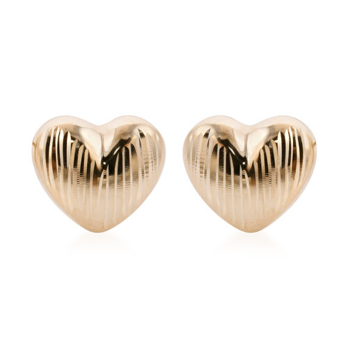 Royal Bali Collection - 9K Yellow Gold Diamond Cut Heart Stud Earrings (with Push Back)