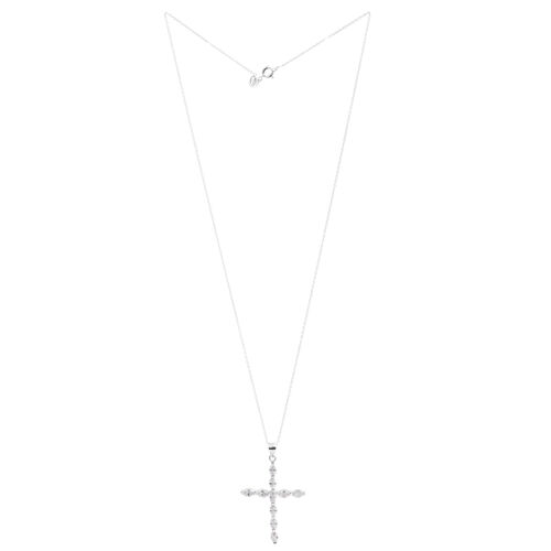 ELANZA AAA Simulated Diamond (Mrq) Cross Pendant with Chain in Rhodium Plated Sterling Silver