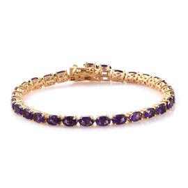 Lusaka Amethyst (Ovl) Tennis Bracelet (Size 7) in 14K Gold Overlay Sterling Silver 11.250 Ct, Silver wt 10.84 Gms.
