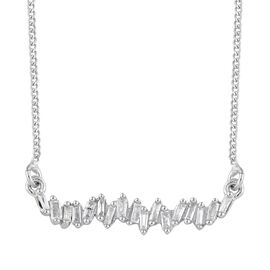 Diamond (Bgt) Necklace with Chain (Size 18 with 2 inch Extender) in Platinum Overlay Sterling Silver 0.200 Ct
