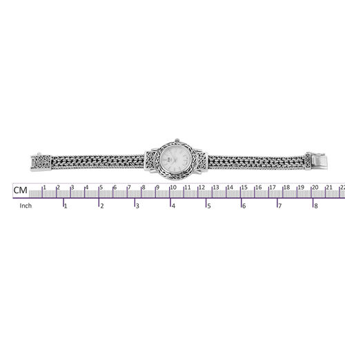 Royal Bali Collection EON 1962 Sterling Silver Bracelet Watch (Size 8) with Tulang Naga Chain, Silver wt 32.98 Gms