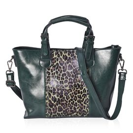 100% Genuine Leather Leopard Pattern Middle Size Tote Bag with Detachable Shoulder Strap (Size 38x25