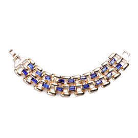 Designer Inspired- Blue Crystal- Panther Link Bracelet (Size 7.5) in Gold Tone