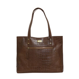 Assots London HELENE - 100% Genuine Croc Leather Handbag (Size 39x26x10cm) - Tan