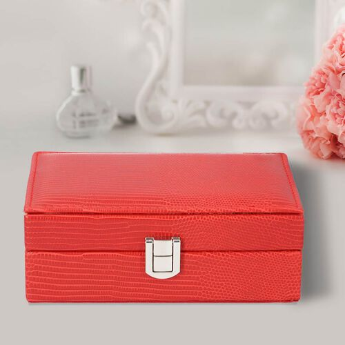 Grace Collection - Lizard Skin Pattern Rectangular Shaped  Anti-Tarnish Jewellery Box with Inside Mirror, Ring Rows & 2 Sections (Size 16x10x6cm) - Red