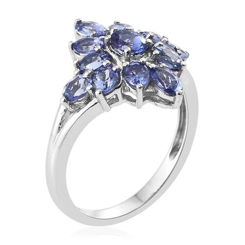 Tanzanite (Ovl) Cluster Ring in Platinum Overlay Sterling Silver 2.500 Ct.